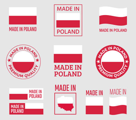 made in Poland labels set, made in Poland product emblem Ilustracja
