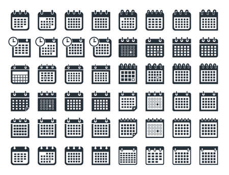 calendar icon set, vector calendar flat signs Ilustracja