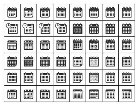calendar icons, vector calendar sign set