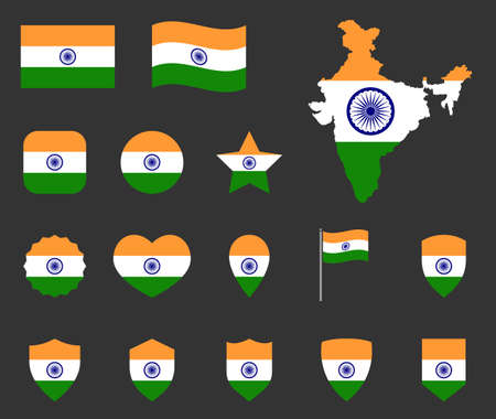 India flag icons set, symbols of the flag of Republic of India