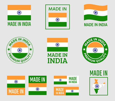 made in India icon set, product labels of Republic of India