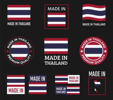 made in Thailand labels set, Kingdom of Thailand product emblem Zdjęcie Seryjne - 123286607