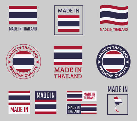 made in Thailand icon set, Kingdom of Thailand product labels