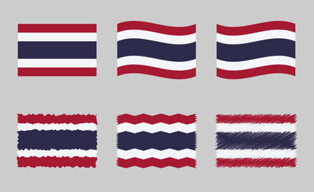 Thailand flag, Kingdom of Thailand flag vector images set Ilustracja