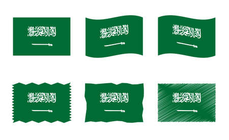 Saudi Arabia flag, Kingdom of Saudi Arabia flag vector images set