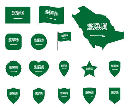Saudi Arabia flag icons set, national flag of Kingdom of Saudi Arabia
