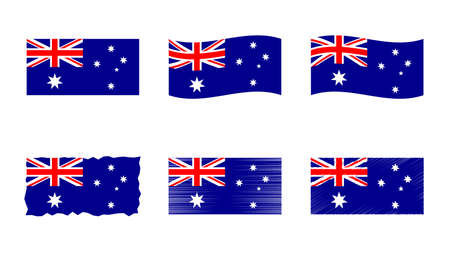 Australia flag, Commonwealth of Australia flag vector images set