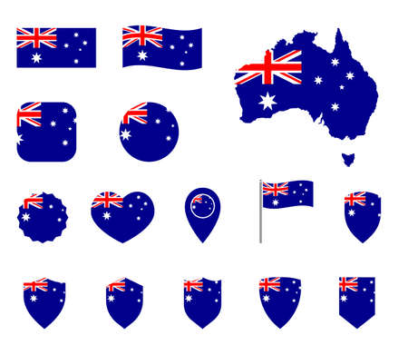 Australia flag symbols set, national flag icons of Commonwealth of Australia