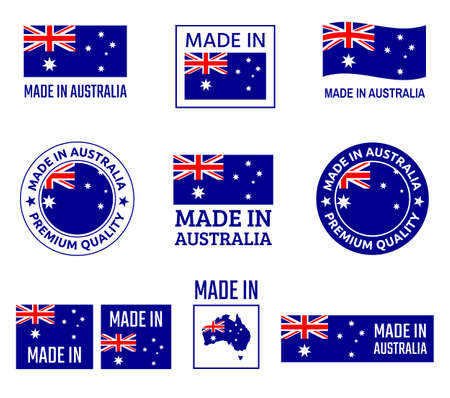 made in Australia labels set, made in Commonwealth of Australia product emblem Ilustracja