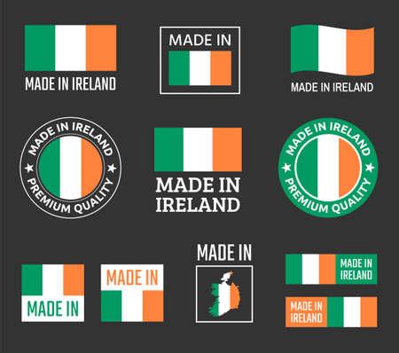 made in Ireland labels set, Republic of Ireland product emblem Zdjęcie Seryjne - 123286639
