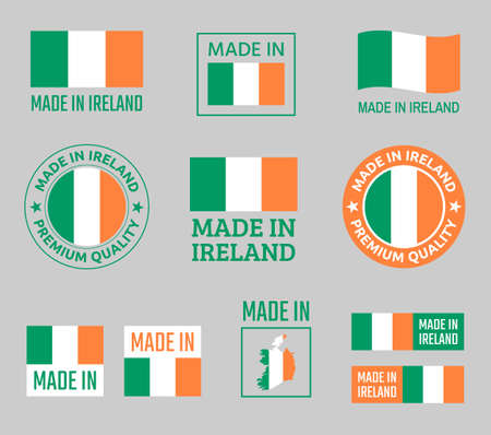 made in Ireland icon set, product labels of Republic of Ireland Zdjęcie Seryjne - 123286640