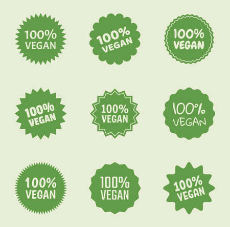 vegan logo icon set, organic natural food labels