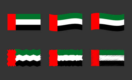 United Arab Emirates flag set, official colors of national flag of UAE