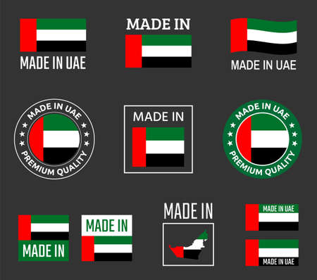 made in United Arab Emirates icon set, made in UAE product labels
