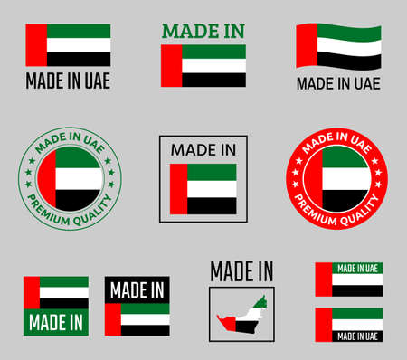 made in United Arab Emirates labels set, made in UAE product emblem