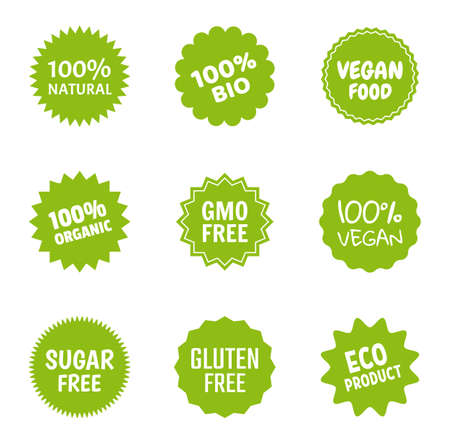 Healthy food icon set, natural product labels, organic tags for vegans