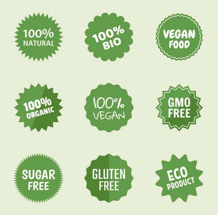 icone di prodotti biologici, etichette per alimenti naturali, etichette salutari per vegani