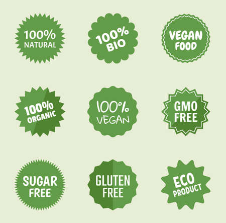 organic product icons, natural food labels, healthy tags for vegans  イラスト・ベクター素材