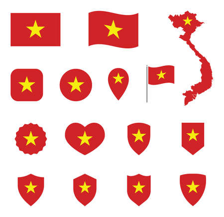 Flag of the Socialist Republic of Vietnam icons set, Vietnam flag symbols