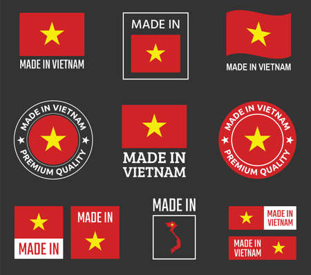 made in Vietnam labels set, Socialist Republic of Vietnam product emblem