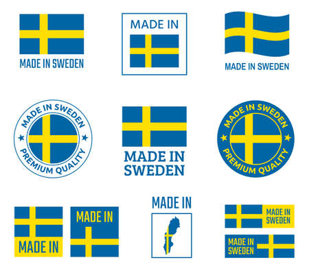 made in Sweden labels set, made in Kingdom of Sweden product emblem Zdjęcie Seryjne - 123286712
