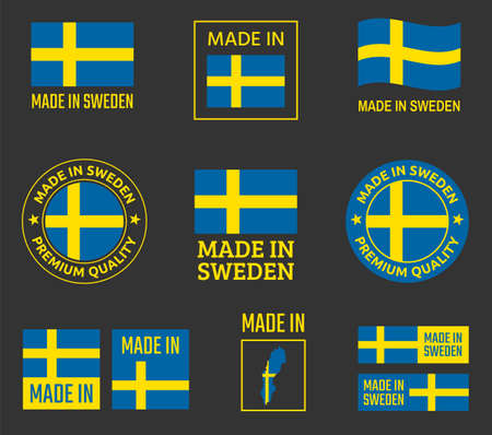 made in Sweden icon set, made in Kingdom of Sweden product labels Ilustracja