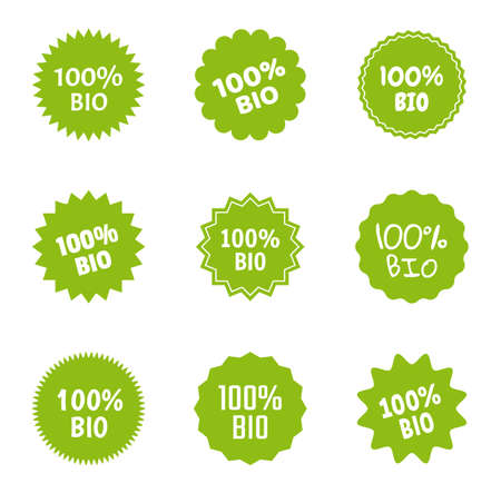 bio and natural food logo icon set, 100 percent bio label