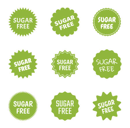 sugar free icon set, natural food without sugar label