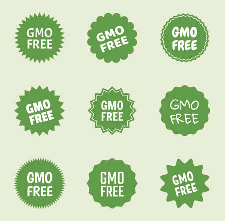gmo free icon set, natural food without gmo label