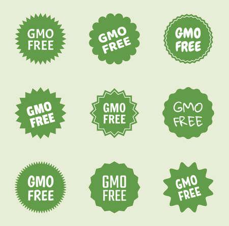 gmo free icon set, natural food without gmo label Zdjęcie Seryjne - 123286718
