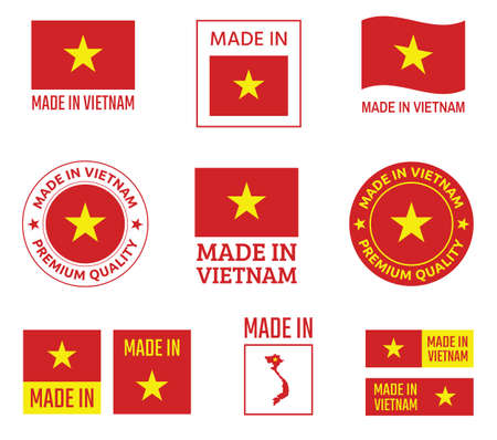 made in Vietnam icon set, Socialist Republic of Vietnam product labels