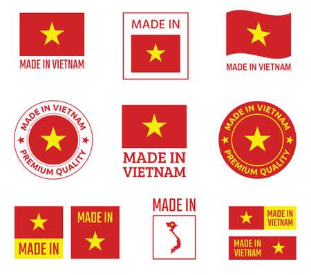 made in Vietnam icon set, Socialist Republic of Vietnam product labels Zdjęcie Seryjne - 123286719