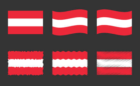 Austria flag, official colors and proportion of Republic of Austria flag Ilustracja