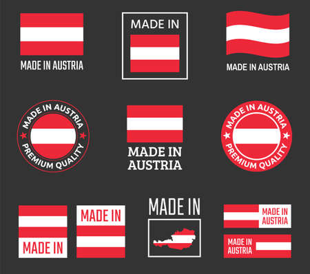 made in Austria icon set, product labels of Republic of Austria