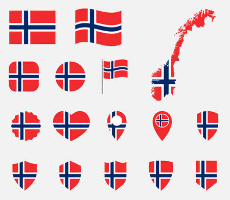 Norway flag icons set, national flag of Kingdom of Norway