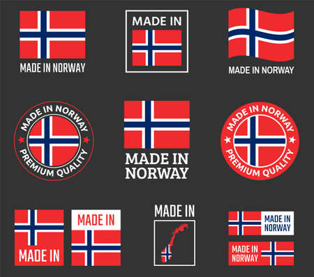 made in Norwa icon set, made in Kingdom of Norwa product labels Ilustracja