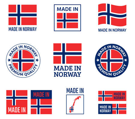 made in Norway labels set, made in Kingdom of Norwa product emblem