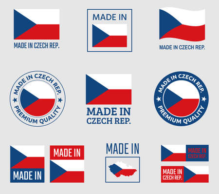 made in Czech Republic icon set, product labels of Czechia