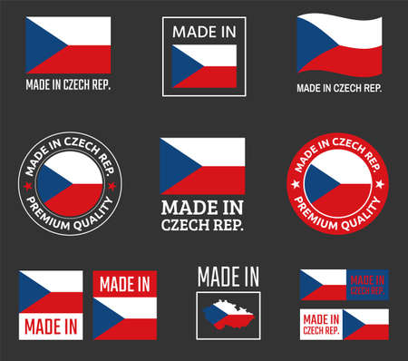 made in Czech labels set, Czechia product emblem