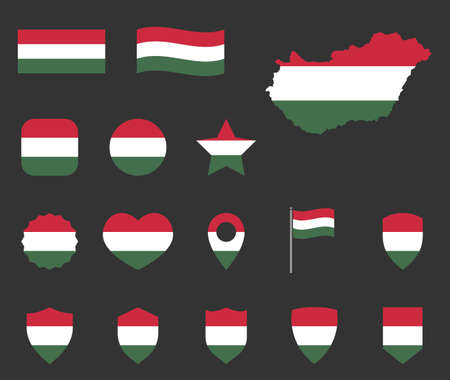 Hungary flag symbols set, national flag icons of Hungary