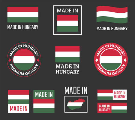 made in Hungary icon set, product labels of Hungary Ilustracja