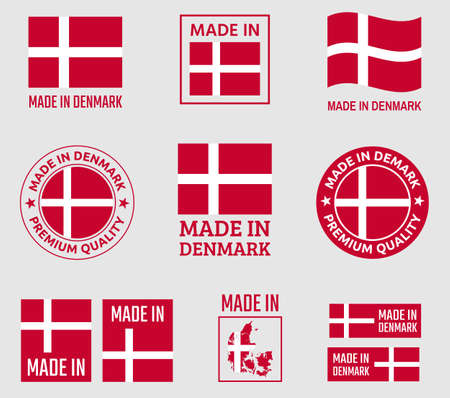 made in Denmark icon set, made in Kingdom of Denmark product labels