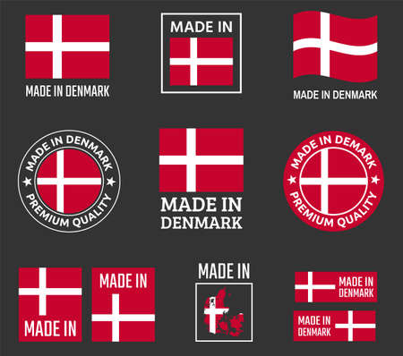 made in Denmark labels set, made in Kingdom of Denmark product emblem