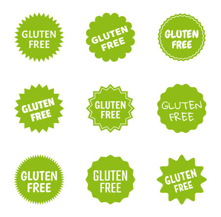 gluten free icon set, healthy food logo labels