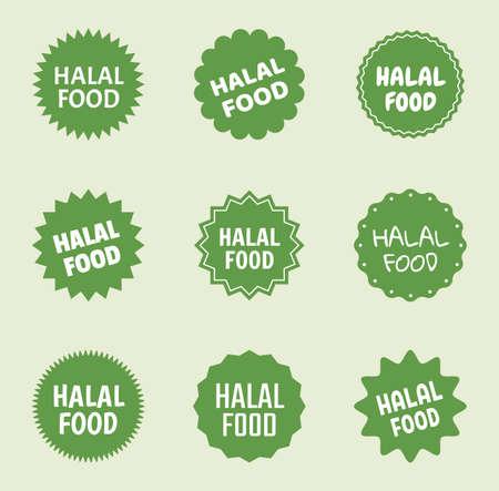 halal food icon set, islamic healthy food labels Stock Illustratie