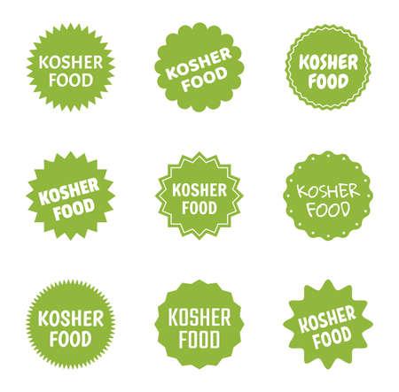 kosher food icon set, jewish healthy food labels Stock Illustratie