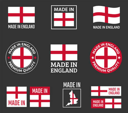 made in England icon set, made in England product labels