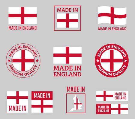 made in England labels set, made in England product emblem Ilustracja