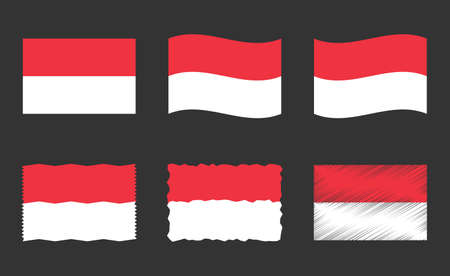 Indonesia flag set, official colors and proportion of the Republic of Indonesia flag