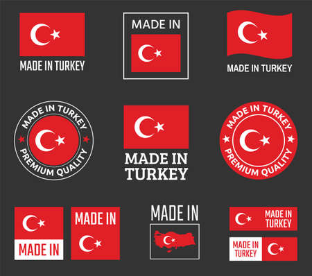 made in Turkey icon set, product labels of the Republic of Turkey